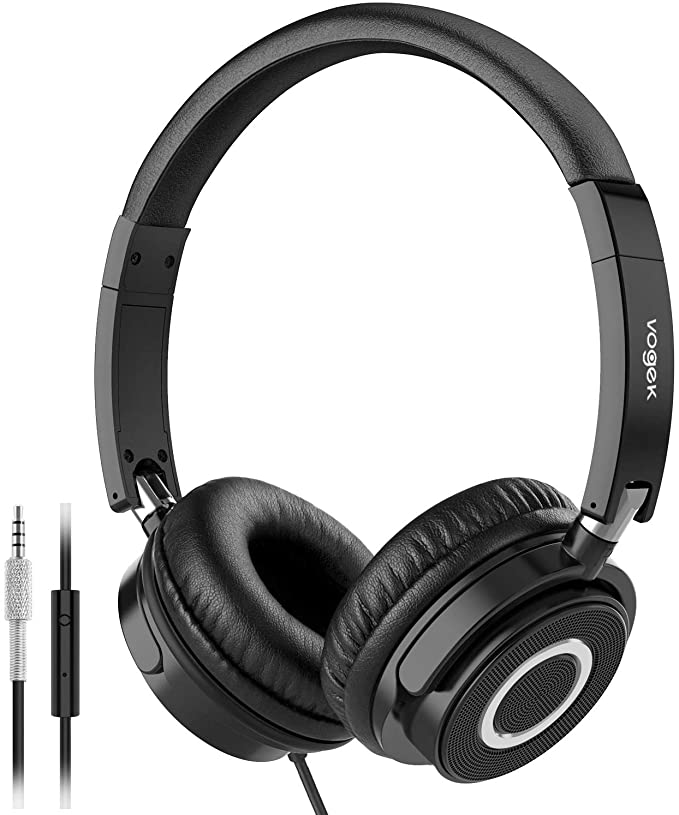 VOGEK On Ear Headphones with Mic, Lightweight Portable Fold-Flat Stereo Bass