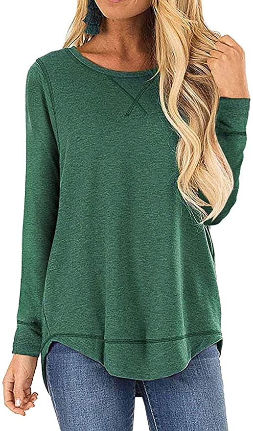 I2CRAZY Women's Casual Long Sleeve Tunic Tops Fall Tshirt Blouses