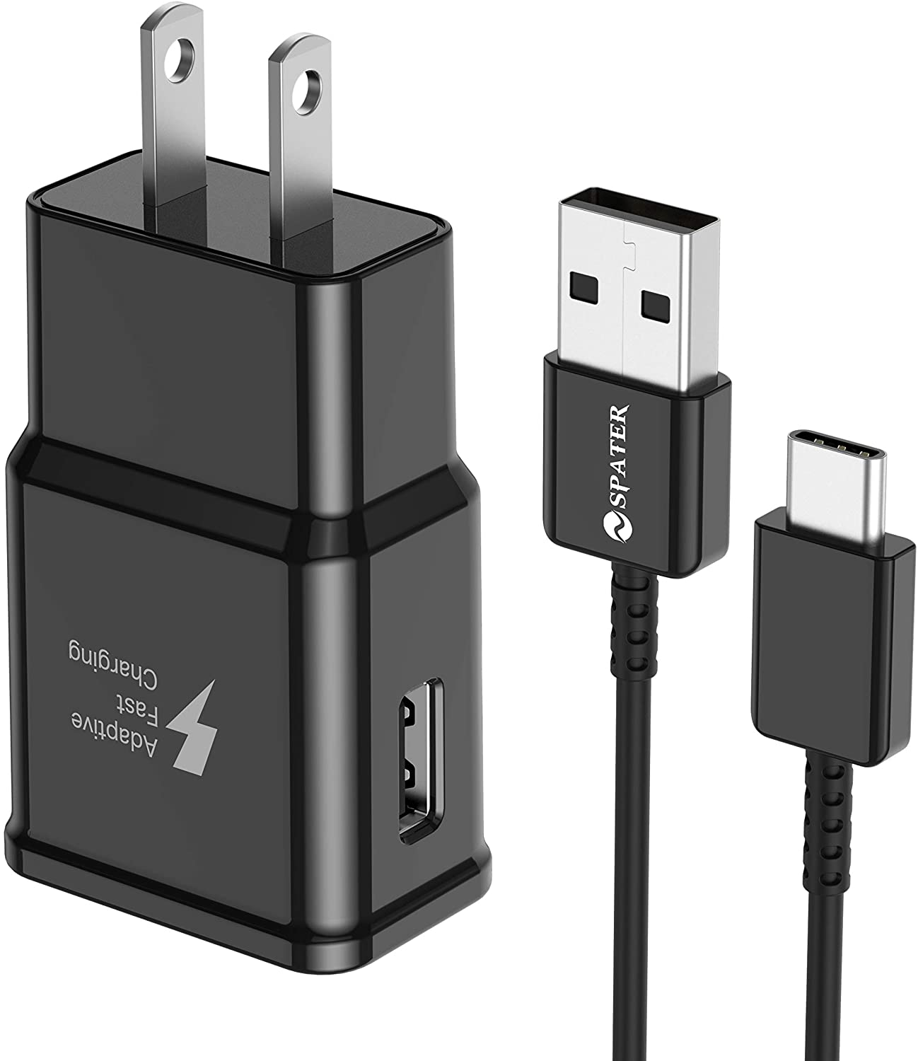 Spater Adaptive Fast Charging Wall Charger Kit Set with USB-C Cable, Compatible with Samsung Galaxy