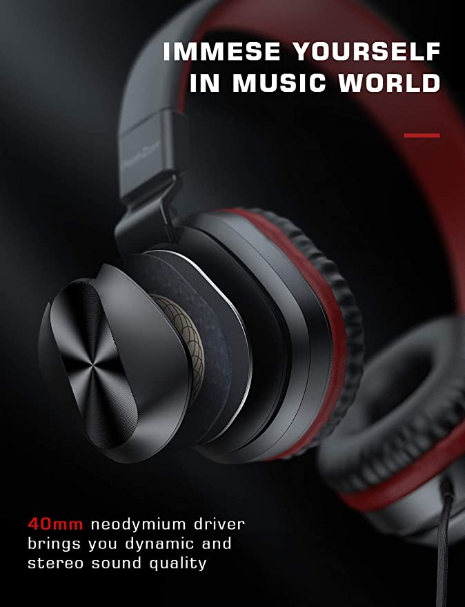 On-Ear Headphones with Microphone Lightweight Folding Stereo Bass