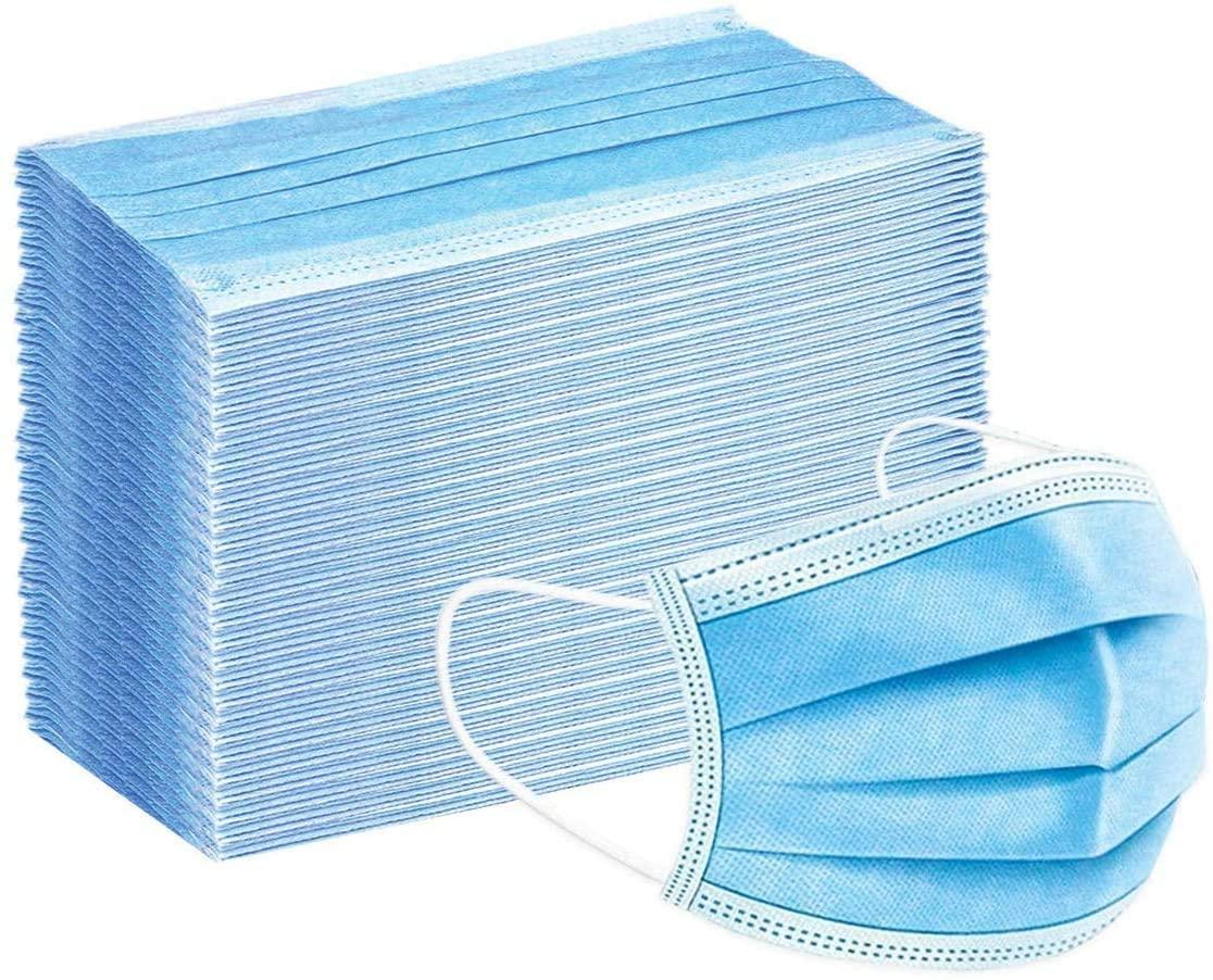 Disposable Face Mask Face Cover Blue 3-Layer 50Pcs