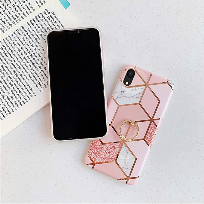 Qokey iPhone XR Case,Marble Case Cute Fashion Design for Men Women Girls with 360 Degree Rotating Ri